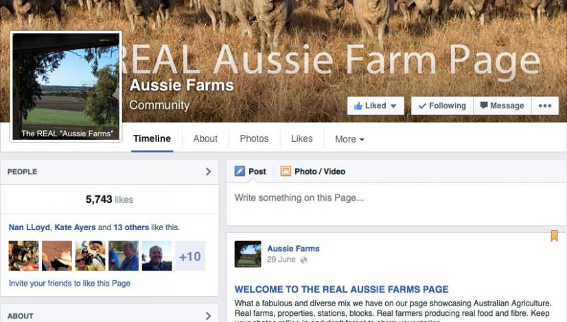 Screen shot of the REAL Aussie farms Facebook page