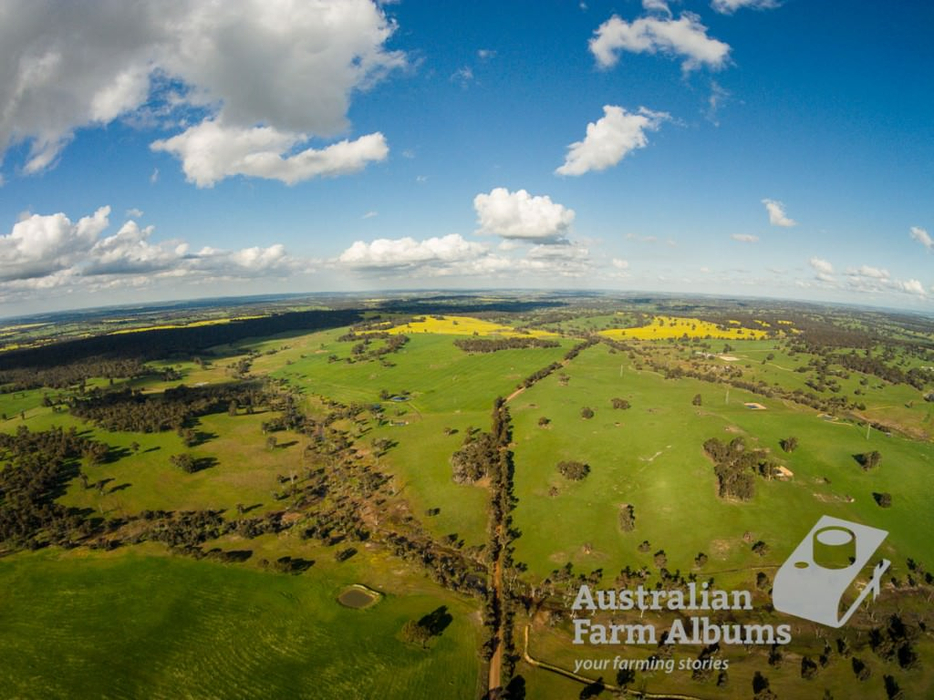Farm photo showing aerial view over farmland near Darkan in WA
