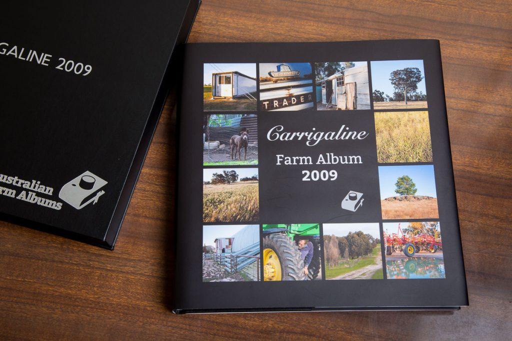 Wrap around printed dust jacket cover on a farm album