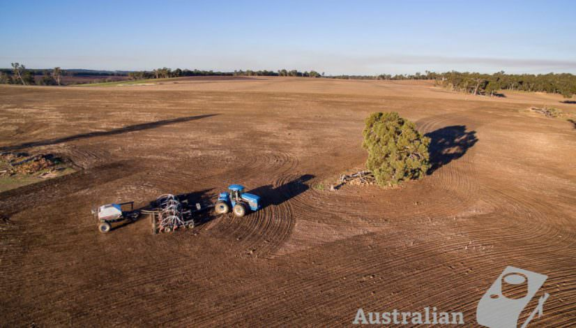 Australian Farm photo of tractor and airseeder aerial shot.