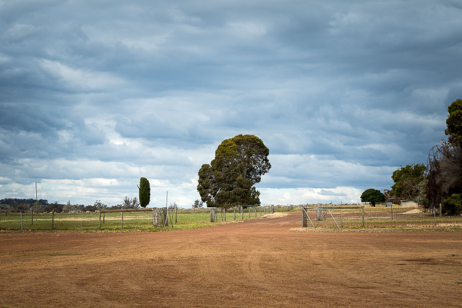 photo of grey cloudy sky over farmland with farm driveway and gates